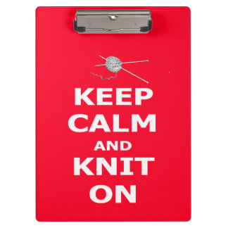 Keep Calm and Knit On Clipboard
