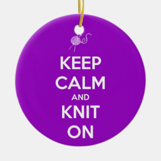 Keep Calm and Knit On Fuschia Ceramic Ornament