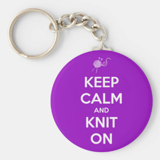 Keep Calm and Knit On Fuschia Keychain