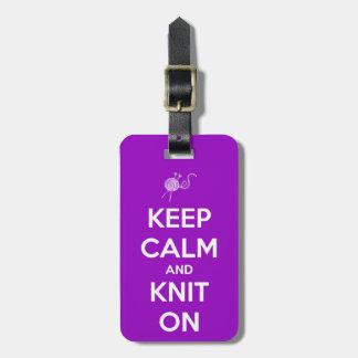 Keep Calm and Knit On Fuschia Luggage Tag