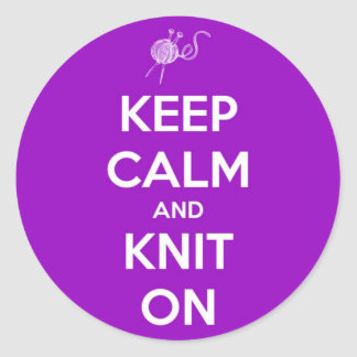 Keep Calm and Knit On Fuschia Round Sticker