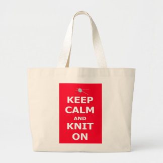 Keep Calm and Knit On Large Tote Bag