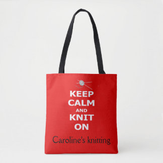 Keep Calm and Knit On - with your name Tote Bag