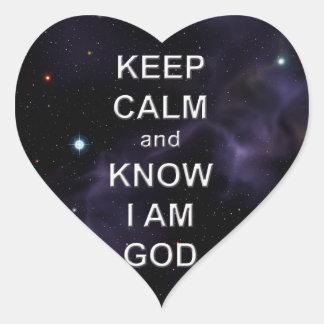 Keep Calm and Know I Am God Heart Stickers