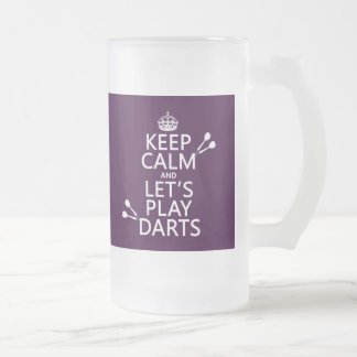 Keep Calm and Let's Play Darts Frosted Glass Beer Mug