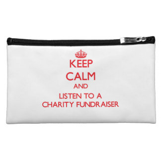 Keep Calm and Listen to a Charity Fundraiser Cosmetic Bags