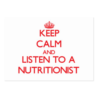 Keep Calm and Listen to a Nutritionist Business Card