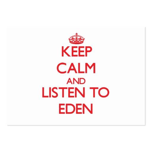 Keep Calm and listen to Eden Business Card