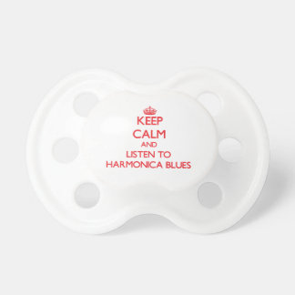 Keep calm and listen to HARMONICA BLUES Baby Pacifier