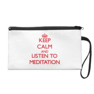 Keep calm and listen to MEDITATION Wristlet Clutch
