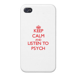 Keep calm and listen to PSYCH iPhone 4 Case