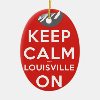 Keep Calm and Louisville On Louisville, Colorado Ceramic Oval Ornament