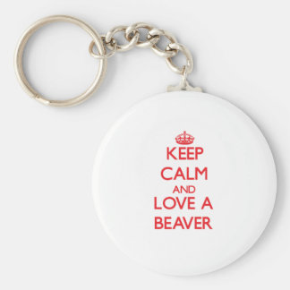 Keep calm and Love a Beaver Basic Round Button Keychain