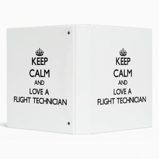 Keep Calm and Love a Flight Technician Vinyl Binder