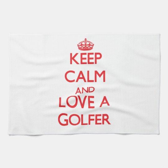 Keep Calm and Love a Golfer Kitchen Towel