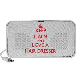 Keep Calm and Love a Hair Dresser Laptop Speaker