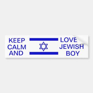 KEEP CALM AND LOVE A JEWISH BOY BUMPER STICKER