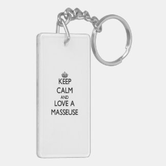Keep Calm and Love a Masseuse Rectangle Acrylic Keychains