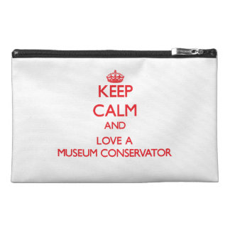 Keep Calm and Love a Museum Conservator Travel Accessory Bags