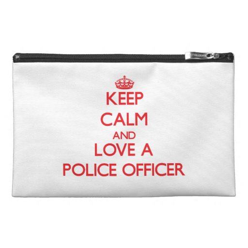 Keep Calm and Love a Police Officer Travel Accessories Bags