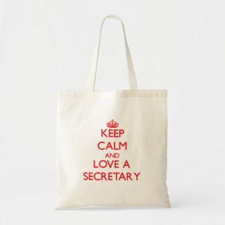 Keep Calm and Love a Secretary Canvas Bag