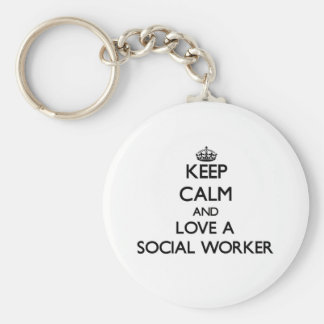 Keep Calm and Love a Social Worker Basic Round Button Keychain
