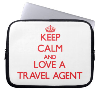 Keep Calm and Love a Travel Agent Computer Sleeves