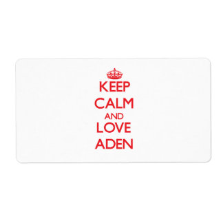 Keep Calm and Love Aden Personalized Shipping Labels
