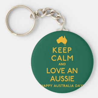 Keep Calm and Love an Aussie! Basic Round Button Keychain