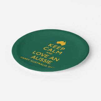 Keep Calm and Love an Aussie! Paper Plate