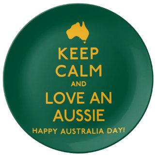 Keep Calm and Love an Aussie! Plate