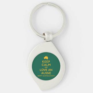 Keep Calm and Love an Aussie! Silver-Colored Swirl Keychain