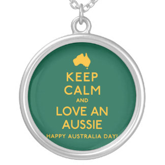 Keep Calm and Love an Aussie! Silver Plated Necklace