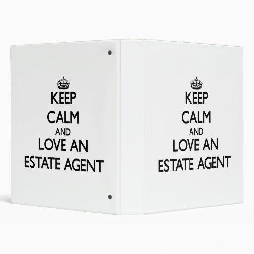Keep Calm and Love an Estate Agent Vinyl Binder