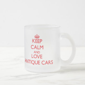 Keep calm and love Antique Cars Frosted Glass Coffee Mug