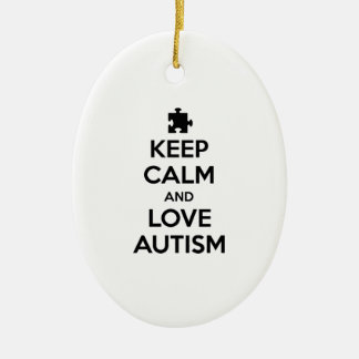 Keep Calm And Love Autism Ceramic Oval Ornament
