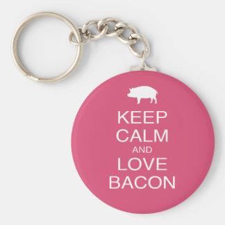 Keep Calm and Love Bacon Print Gift Design Pork Keychain