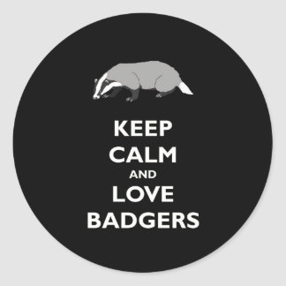 Keep Calm and Love Badgers Round Sticker