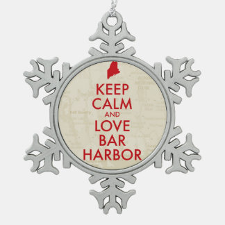 Keep Calm and Love Bar Harbor Pewter Snowflake Ornament