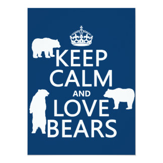 """Keep Calm and Love Bears (in all colours) 5.5"""" X 7.5"""" Invitation Card"""