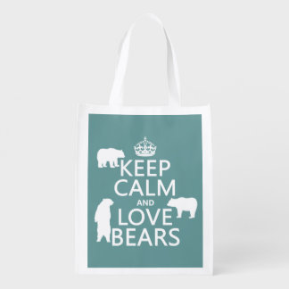 Keep Calm and Love Bears (in all colours) Reusable Grocery Bag