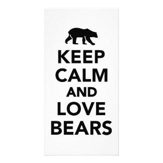 Keep calm and love bears photo cards