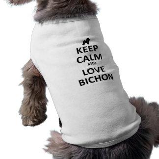 Keep calm and love Bichon Pet Tee Shirt