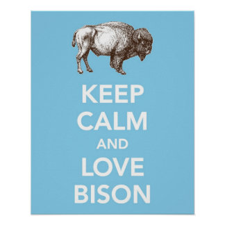 Keep Calm and Love Bison (or Buffalo) print poster
