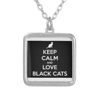 Keep Calm and Love Black Cats Silver Plated Necklace