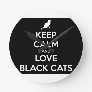 Keep Calm and Love Black Cats Wall Clock