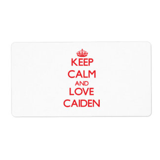 Keep Calm and Love Caiden Personalized Shipping Labels