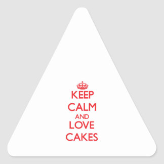 Keep calm and love Cakes Triangle Stickers