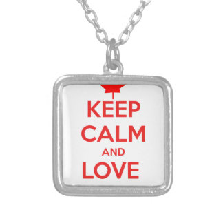 KEEP CALM AND LOVE CANADA SILVER PLATED NECKLACE