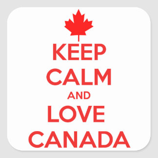 KEEP CALM AND LOVE CANADA SQUARE STICKER